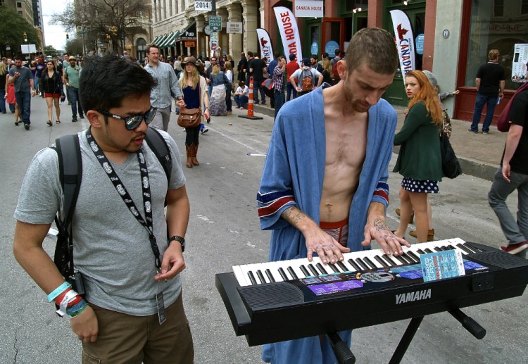 sxsw pictures dude in undies playing keyboard