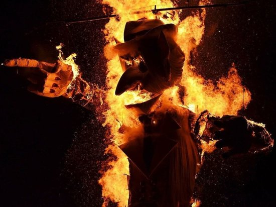 """This is """"Zozobra"""" a spirit of pain and despair ritually burned at the change of the year."""