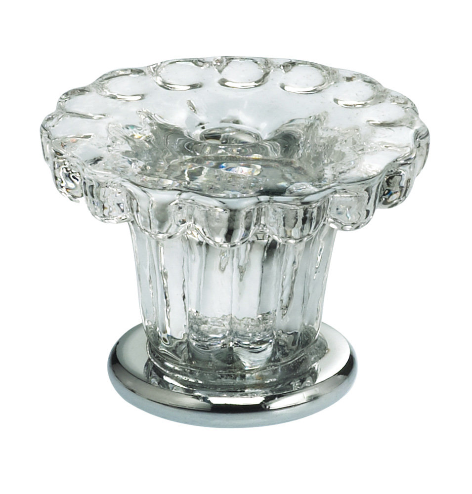 Item No.4909/35 (Cabinet Knob - Glass) in finish Transparent Glass with US26 (Polished Chrome) Base