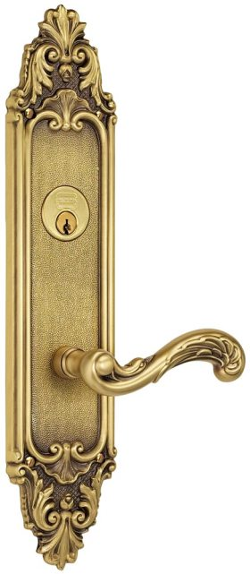 Item No.57251 (Exterior Ornate Mortise Entrance Lever Lockset with Plates - Solid Brass )