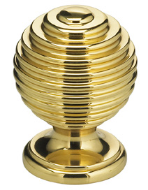Item No.9107 (Modern Cabinet Knob - Solid Brass) in finish  US3 (Polished Brass, Lacquered)