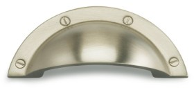 Item No.9454 (Modern Cup Pull - Solid Brass) in finish US15 (Satin Nickel Plated, Lacquered)