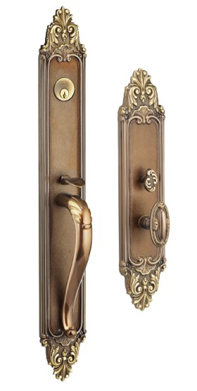 Item No.Georgica w/ 294 (Exterior Ornate Mortise Entrance Handleset Lockset - Solid Brass)