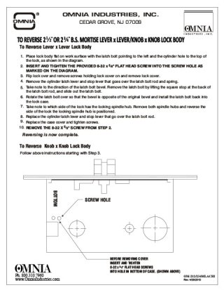"OMNIA 2-1/2"" or 2-3/4"" Mortise Lock Reversing Instructions for Lever x Lever/Knob x Knob"