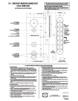 "OMNIA 2-1/2"" Backset Mortise Handleset Locksets Installation Template"