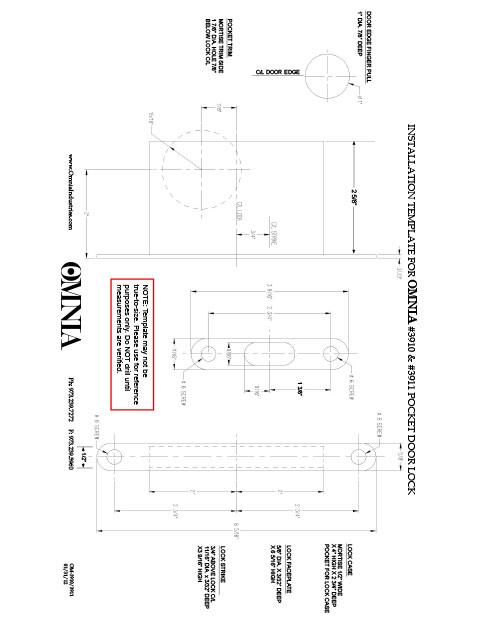 OMNIA 3910 \u0026 3911 Stainless Steel Pocket Door Locks Installation Template  sc 1 st  OMNIA Industries & Installation Templates - OMNIA Industries
