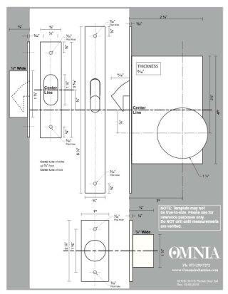 OMNIA 3910S & 3911S Solid Brass Pocket Door Locks Installation Template