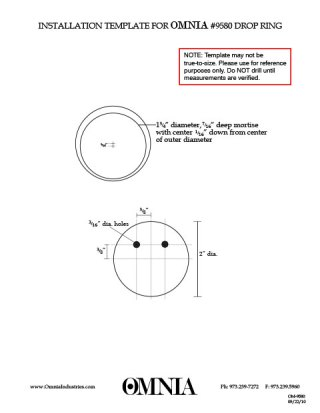 OMNIA 9580 Drop Ring Installation Template
