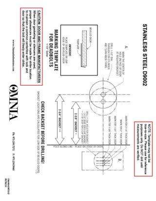 OMNIA D9002 Stainless Steel Auxiliary Deadbolts Installation Template