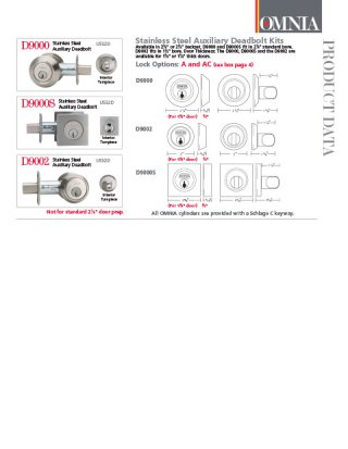 OMNIA Stainless Steel Auxiliary Deadbolts Product Data