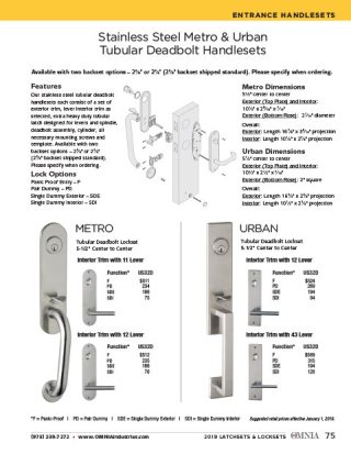 OMNIA Stainless Steel Entrance Handlesets Product Data