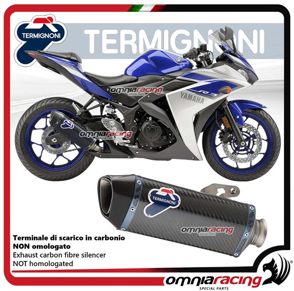 termignoni force carbon fiber exhaust slip on racing for yamaha yzf r3 2015