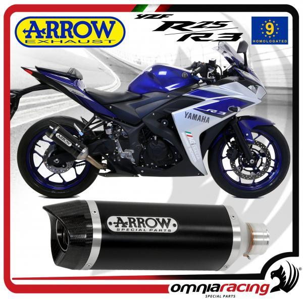 arrow exhaust street thunder aluminium dark silencer homologated for yamaha yzf r3 r25 15 16