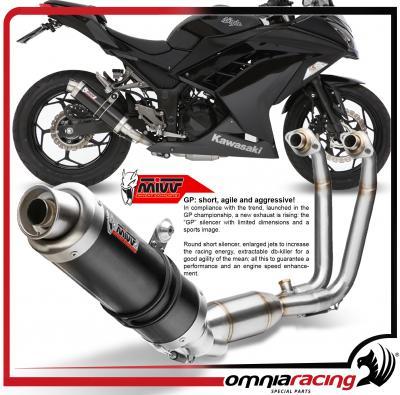 mivv gp steel black full exhaust system for kawasaki ninja 300 2013 13