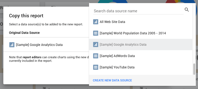 Data Studio Menu where you can select your own data source