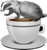 badger and cup