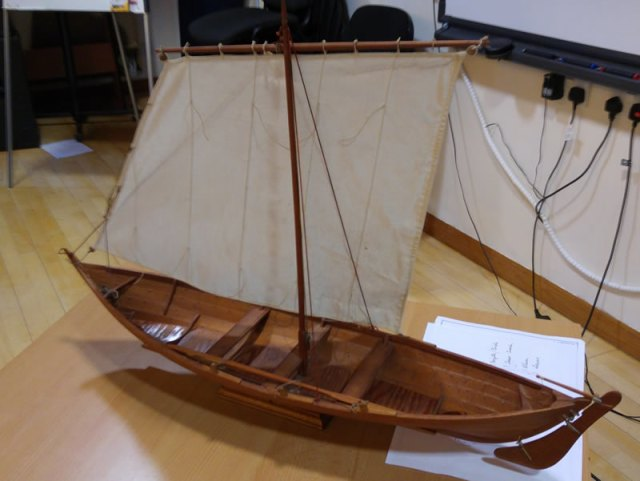 A model of a birlinn, a type of boat used on the west coast of Scotland from the middle ages