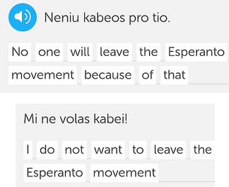 Examples of the Esperanto word kabei