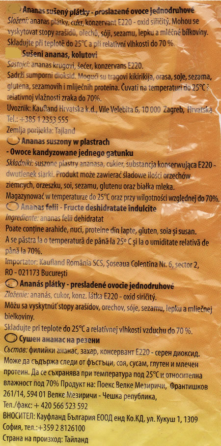 Multilingual ingredients list from a packet of dried pineapples