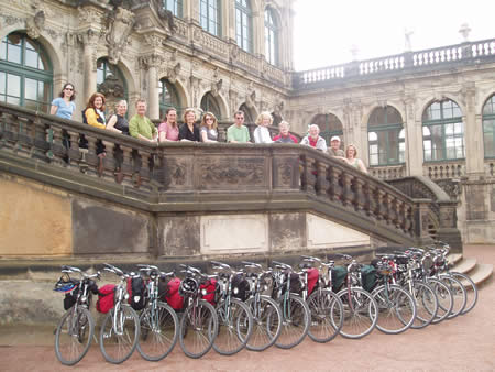 Explore cycling group at the Zwinger Palace in Dresden, Germany, September 2007