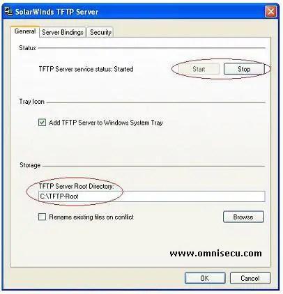 Solarwinds TFTP server configure dialog box