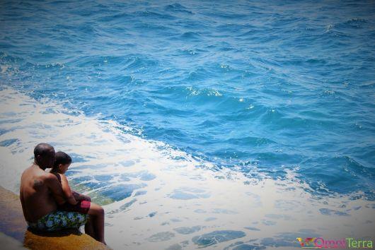 Cuba - Havane - Malecon - Enfant et son père