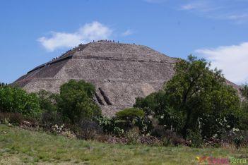 Mexique - Teotihuacan - Pyramide et végétation