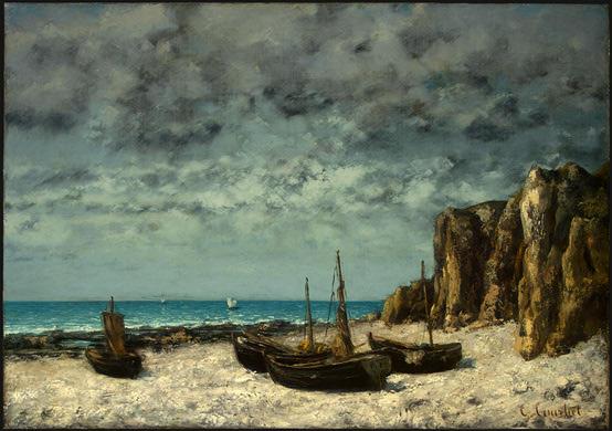 Bateaux sur la plage - Étretat - Gustave Courbet