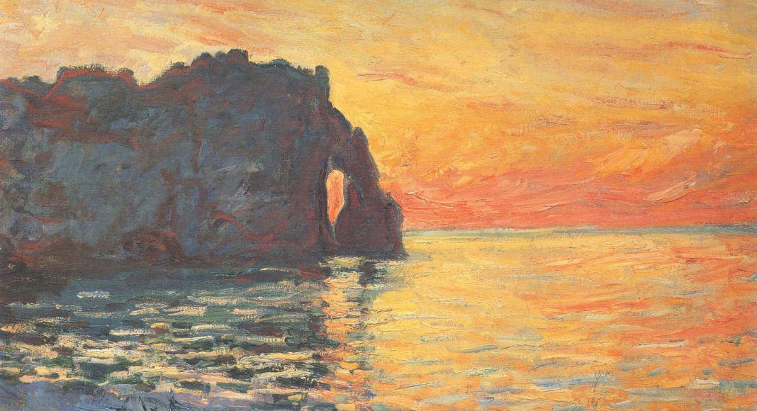 Coucher de Soleil sur la porte d'Aval Étretat - Claude Monet