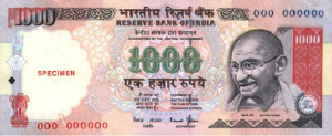 Indian ₹1000 currency note.
