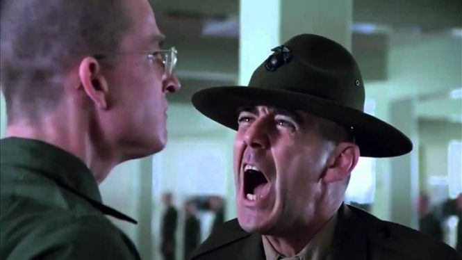 R. Lee Ermey as gunnery sergeant Hartman in Full Metal Jacket. Most abusive managers have the same look on their face when screaming at their cornered target.
