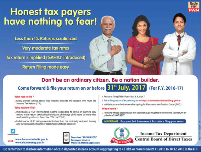 Ad on a newspaper by the IT Department and CBDT about nation builder and ordinary citizen.