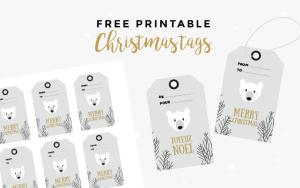 Free printable christmas tags polar bear - instant download