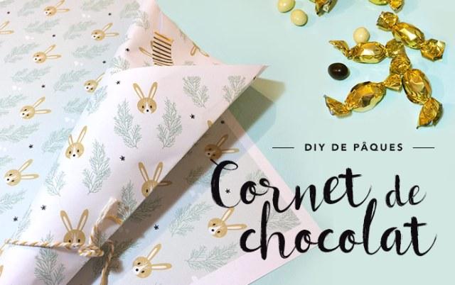 DIY cornet de chocolat pour pâques motif lapin de pâques