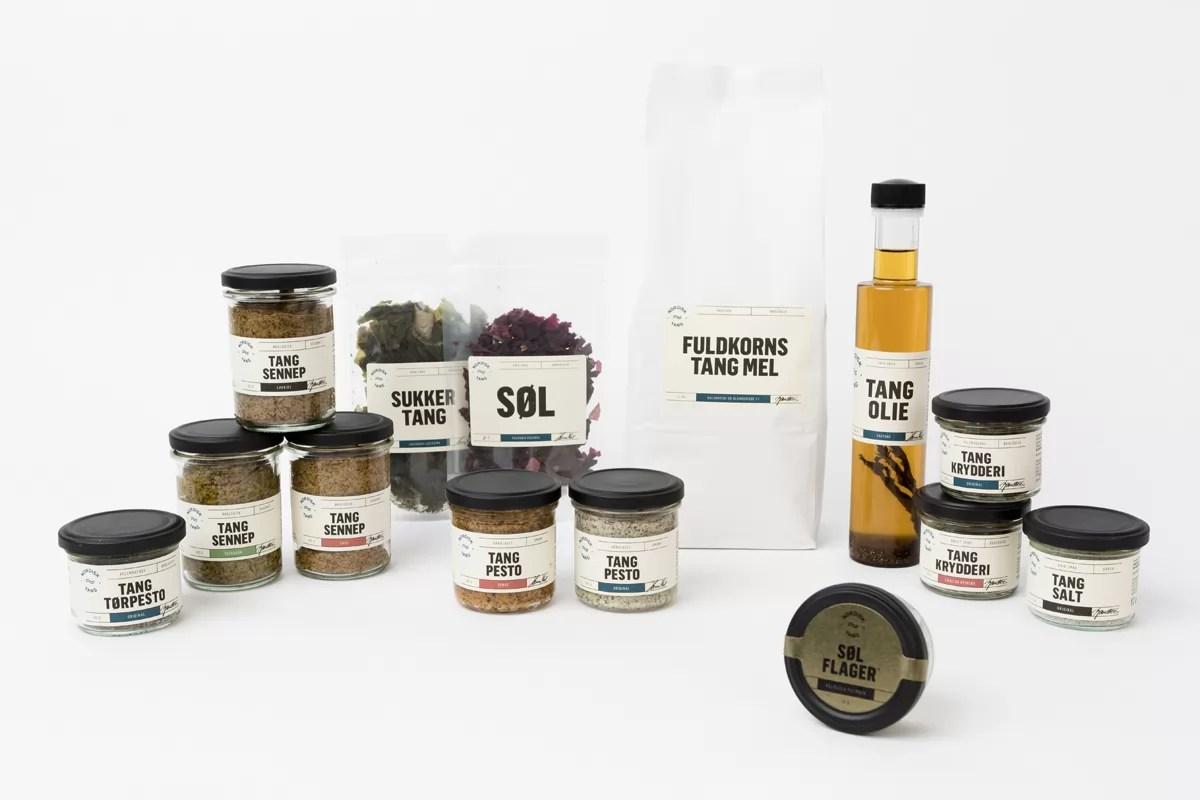 grafisk design og reklame for nordisk tang, etiketter, logo, markedføringsmateriale og visuel identitet er lavet på on!ad reklamebureau i aarhus