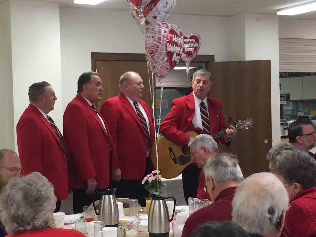 Coulee Chordsmen sing at the UMM Valentine's Breakfast