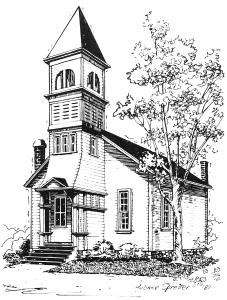 line drawing of 1866 Methodist church