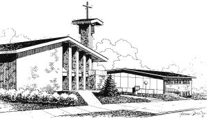 line drawing of 1971 Methodist church