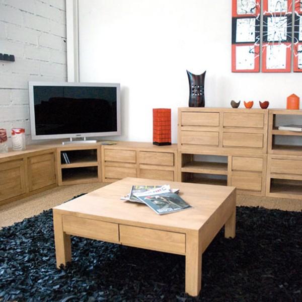 table salon ecologique carree avec tiroirs