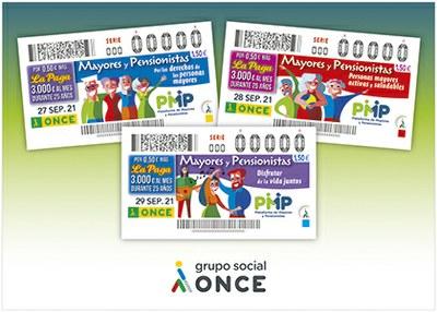 Cartel con los tres cupones dedicados a mayores y pensionistas