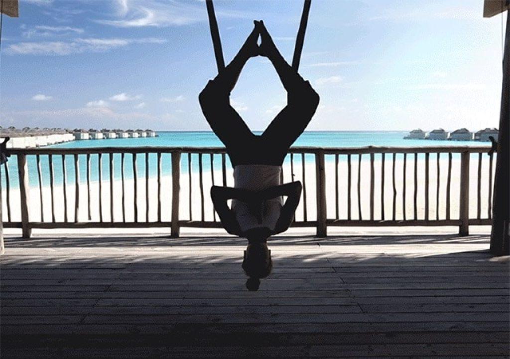 Aerial Yoga at Six Senses Laamu