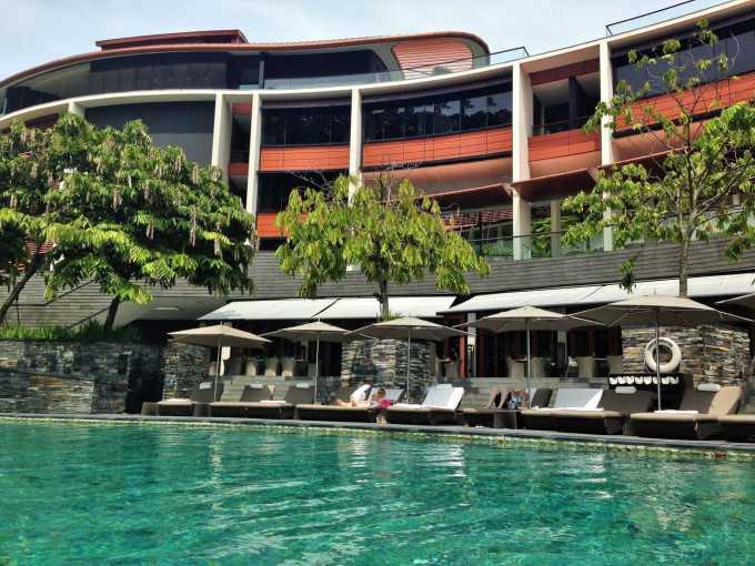 The main building and pool Capella Singapore Sentosa Island
