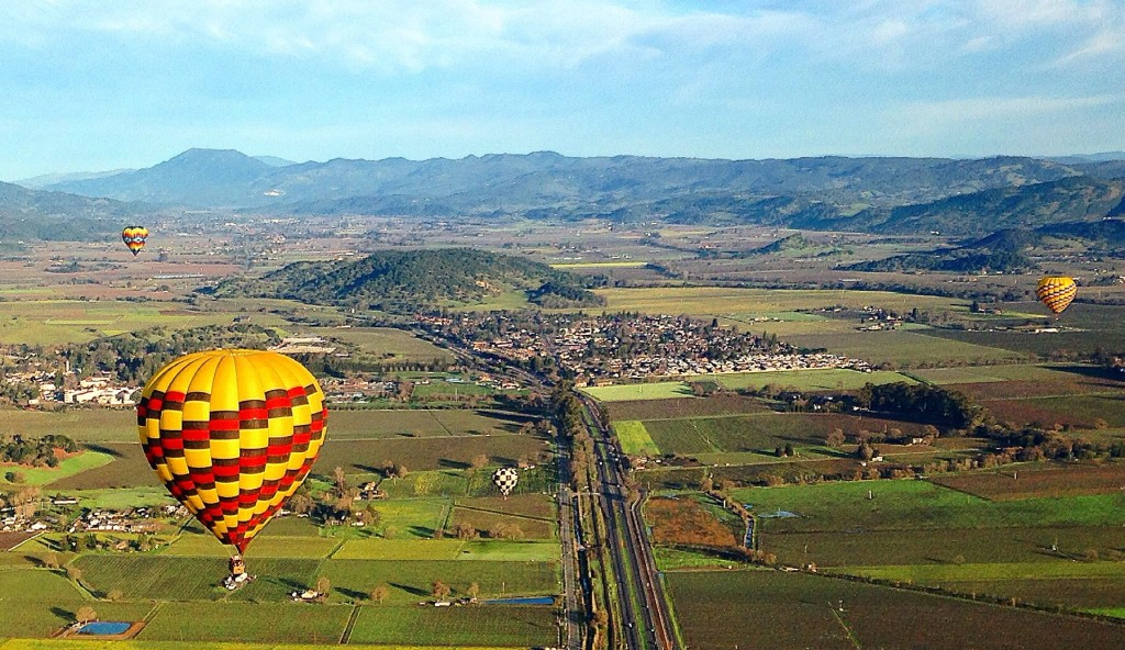Early morning hot air balloon over Napa