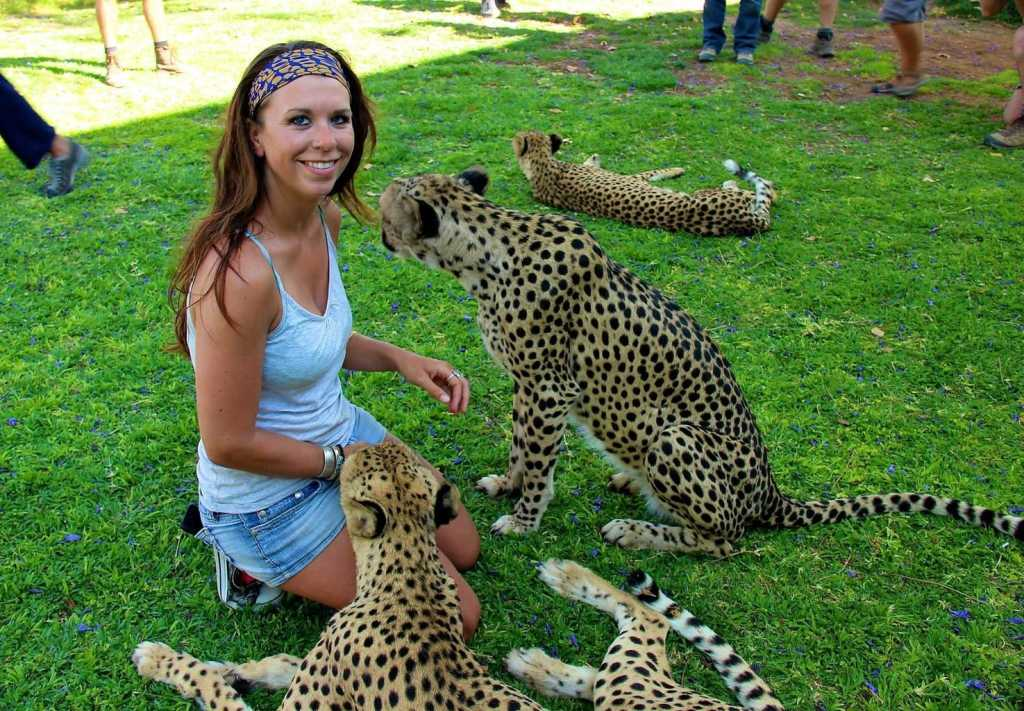 Nicole Smoot with cheetahs