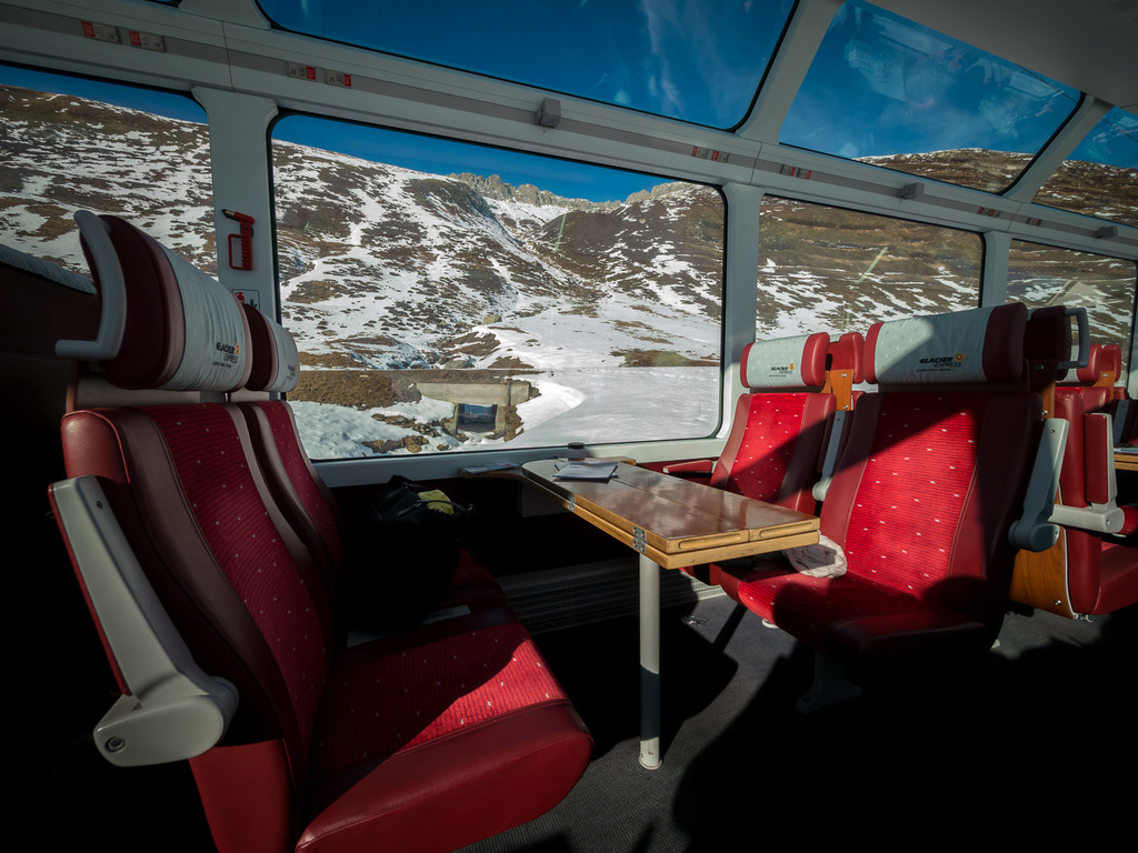 Snow capped Alps from the Glacier Express