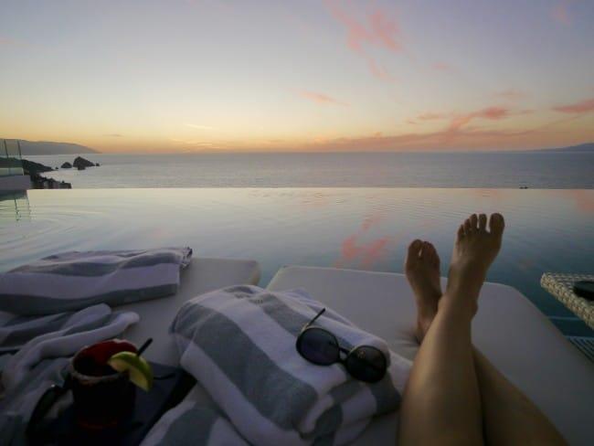 """Garza Blanca Mousai pool sunset"""