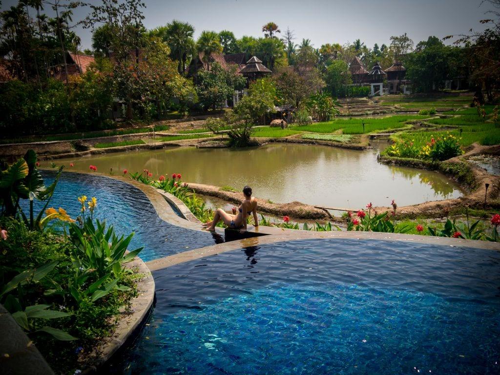 Dhara Devi Chiang Mai review pool and rice paddies