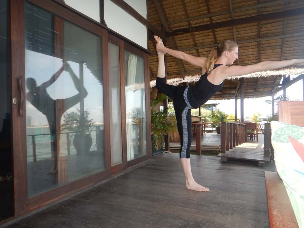 Morning yoga at the Mekong Floating Bungalows