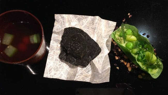 """Sea snake and taro from Narisawa"""