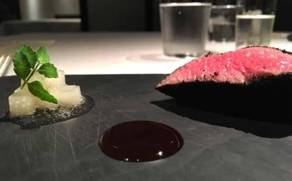 Kobe beef charcoal at Narisawa